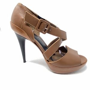 MARNI sandals 8.5 brown leather heels cross straps